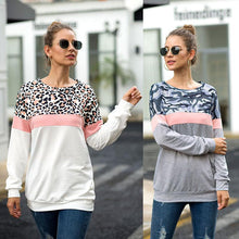 Load image into Gallery viewer, Camouflage Leopard Stitching Round Neck Long Sleeve Top Sweatshirt