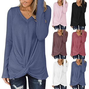 Solid Color Waffle V-neck Long-sleeved Twisted Sweater Top