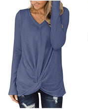 Load image into Gallery viewer, Solid Color Waffle V-neck Long-sleeved Twisted Sweater Top