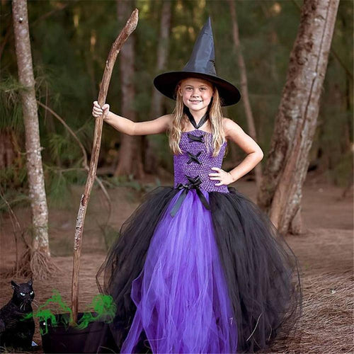 Girls Halloween Children's Clothing Witch Princess Dress Costume Cosplay Witch Tutu Kids Dress