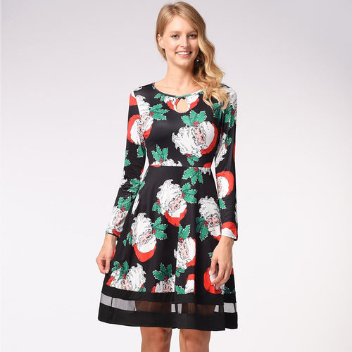 Funny Snowman Print Long Sleeve Christmas Dress