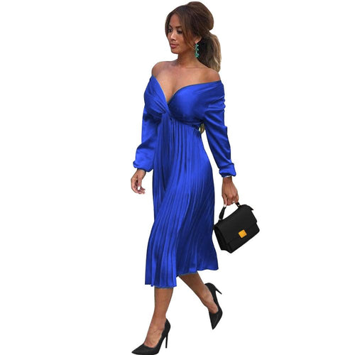 Women Elegant Retro V Neck Plain High Waist Ruched Plain Midi Dress Casual Prom Cocktail Dress
