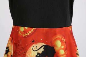 Halloween Skull Print Scoop Neck Vintage Dress