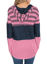 Load image into Gallery viewer, Women Striped Color Block Drawstring Hooded Sweatshirt