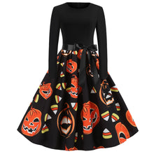 Load image into Gallery viewer, Halloween Pumpkin Skull Print Print Flare Dress