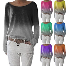 Load image into Gallery viewer, Round Neck Gradient Plain Long Sleeve T-Shirts