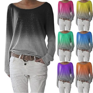 Round Neck Gradient Plain Long Sleeve T-Shirts