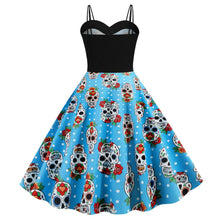 Load image into Gallery viewer, Halloween Pumpkin Skull Print Strap Dress