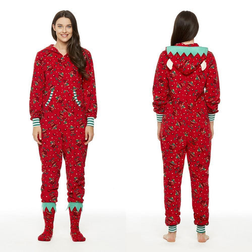 Funny Printed Ugly Christmas Hooded Women Pajamas Jumpsuits Onesies Sleepwear with Ears