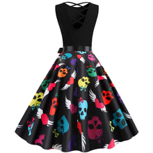 Load image into Gallery viewer, Skull Print Sleeveless Vintage Dress