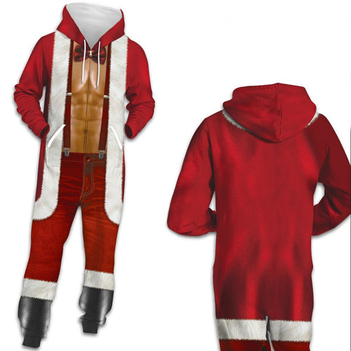 Funny Ugly Christmas Santa Print Zip Hooded Large Size Casual Men Jumpsuit Pajamas Onesies