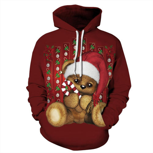 S-5XL Christmas Bear Print Unisex Long Sleeve Hoodie