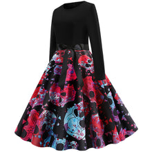 Load image into Gallery viewer, Skull Print Long sleeve Hepburn Vintage Swing Dress