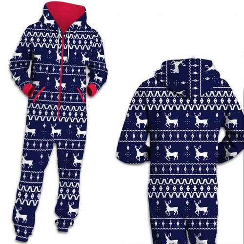 Christmas Unisex Reindeer Print Zip Hooded Large Size Jumpsuit Holiday Adult Pajamas Onesie