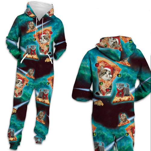 Ugly Christmas Cat Zip Hooded Large Size Casual Men Women Jumpsuit Holiday Adult Pajamas Onesie