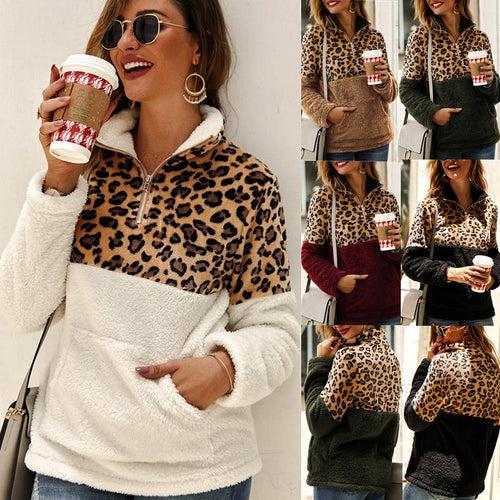 Long Sleeve Leopard Print Patchwork Sweatshirt Top