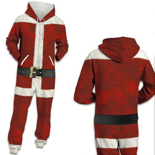 Funny Ugly Christmas Santa Print Zip Hooded Large Size Casual Men Women Jumpsuit Pajamas Onesies