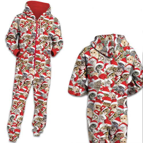 Funny Christmas Cat Zip Hooded Large Size Jumpsuit Holiday Men Women Adult Pajamas Onesie