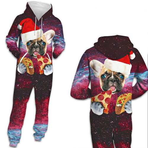 Ugly Christmas Dog Zip Hooded Large Size Men Women Jumpsuit Christmas Holiday Adult Pajamas Onesie