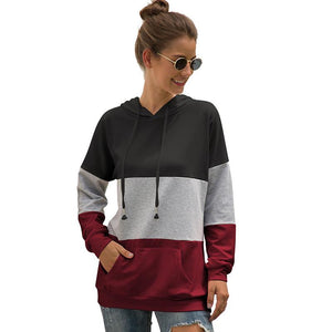 Tri-color Stitching Hooded Drawstring Sweater Coat Hoodie