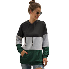 Load image into Gallery viewer, Tri-color Stitching Hooded Drawstring Sweater Coat Hoodie