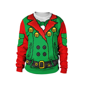 Xmas Fake Tree Print Ugly Christmas Long Sleeve Sweatshirt
