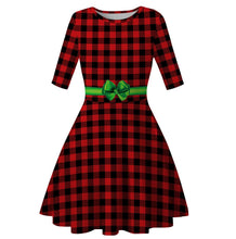 Load image into Gallery viewer, Christmas Digital Print High Waist Round Neck Dress Christmas Costumes