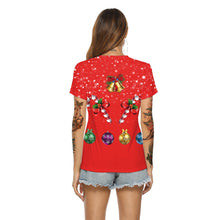 Load image into Gallery viewer, Christmas V-neck Women's Elk Print T-Shirt