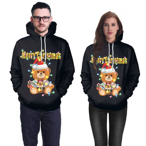 Xmas Teddy Bear Print Christmas Long Sleeve Hoodie