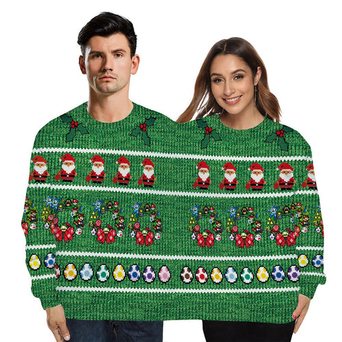 Unisex Conjoined Twin Couples Print Xmas Double Sweatshirt Men's and Women'sTwo Person Double Headed Ugly Christmas Pullover Sweater