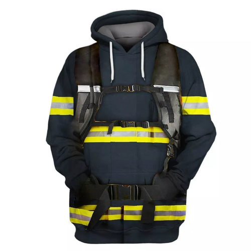 Firefighter Printed Zip Hoodies 3D Sweatshirt Casual Coat