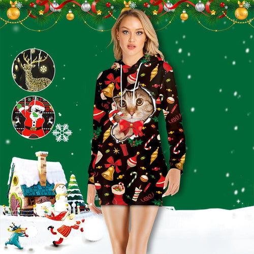 Christmas Cat Print Women's Hoodie Dress