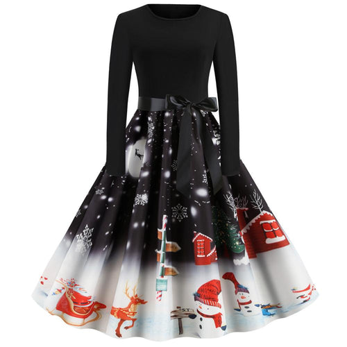 Christmas Snowman Print Long Sleeve Flare Vintage Dress