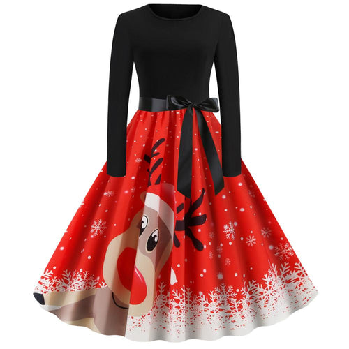 Christmas Reindeer Print Long Sleeve Flare Vintage Dress