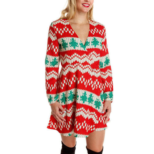 Long Sleeve V Neck Christmas Print Dress