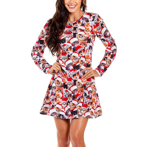 Christmas Cat Print Long Sleeve Midi Dress