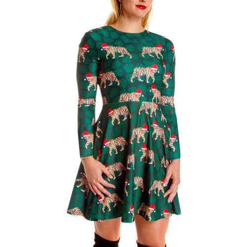Tiger Print Long Sleeve Midi Christmas Dress