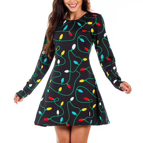 Christmas Light Print Long Sleeve Midi Dress