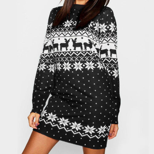 Reindeer Printed Christmas Dress