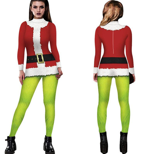 3D Faux Suit Funny Ugly Christmas Tight Women Stretch Jumpsuits Pajamas Onesies