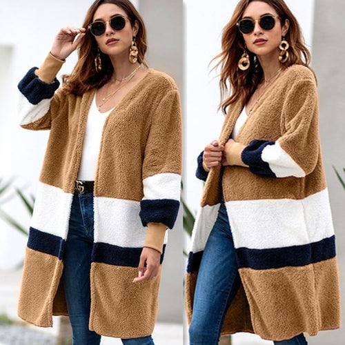 Mid-length Cardigan Plush Coat