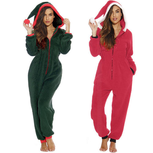 Funny Zip Hooded Christmas Clown Hat Home Holiday Women Plush Jumpsuit Onesies Pajamas