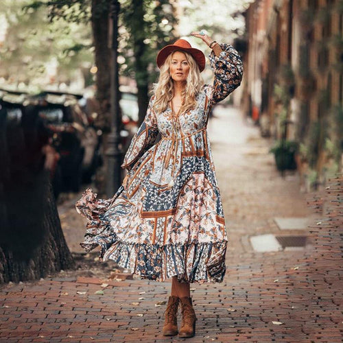 Women Retro Floral V-neck Irregular Patchwork BOHO Dress Summer Casual Holiday Beach Long Maxi Dress
