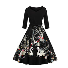Load image into Gallery viewer, Swan Print V-neck Vintage Dress (S-4XL)