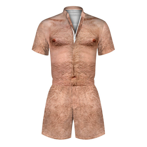 3D Chest Hair Printed Men Romper Fashion Funny Cool Zip Short Sleeve Overall Onesie Playsuit with Pocket
