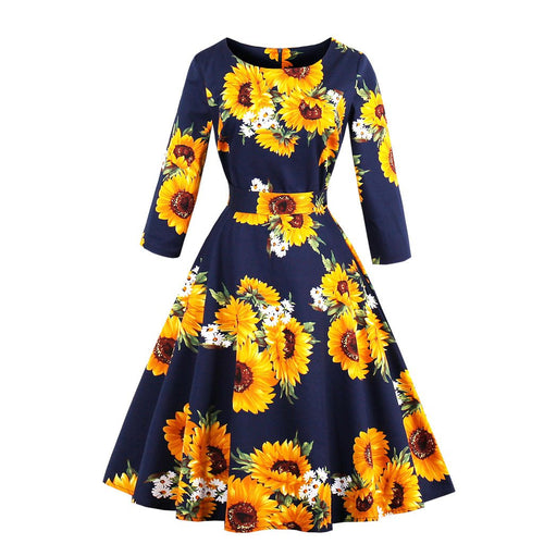 Sunflower Printed Vintage Women V Neck Short Sleeve Wrapped Waist Big Flare Midi Dress With Pocket