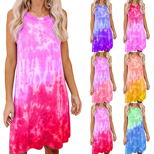 Tie Dye Printed Women Loose Sleeveless Summer Beach Midi Shirt Dress