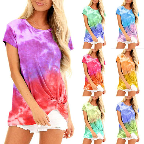 Women Tie Dye Printed Short Sleeve Knotted Summer T-shirt Top