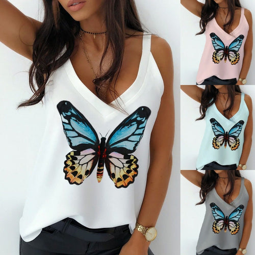Women Fashion Butterfly Printed V Neck Loose Vest T-shirt Tops