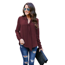 Load image into Gallery viewer, Long Sleeved V-neck Casual Tie Chiffon Shirt